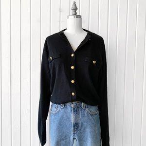 Vintage Soft Black Button Down Cardigan Sweater